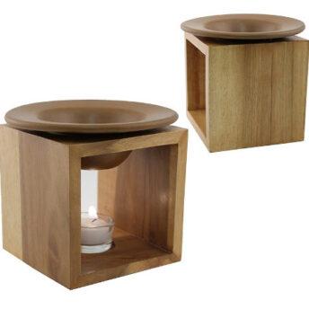 Duftlampe Holz mit brauner Schale