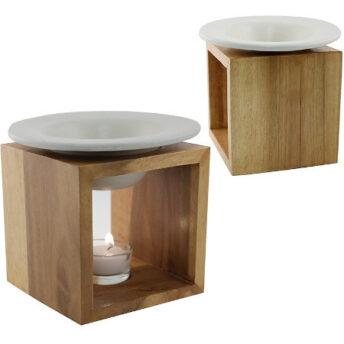 Duftlampe Holz mit weisser Schale