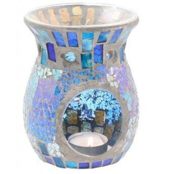 Duftlampe, Mosaik Glas blau