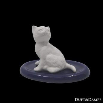 Duftstein Katze sitzend auf Unterteller oval
